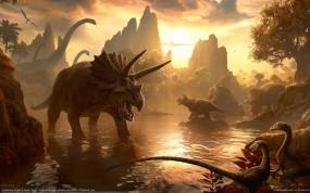 Обои Kerem beyit: Горы, Вечер, Миры, Водопой, Динозавры, Фэнтези