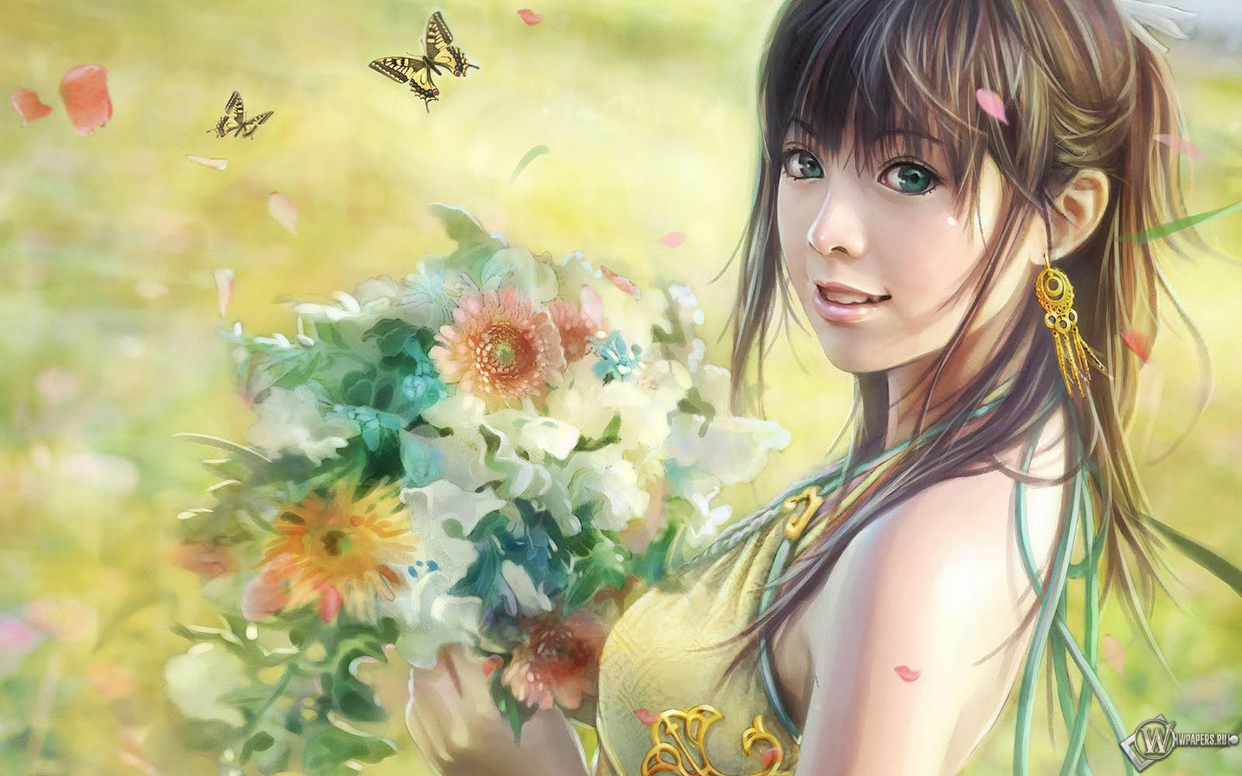 Девушка с цветами (i-chen lin) 2560x1600