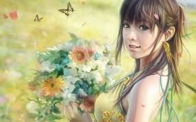 Обои Девушка с цветами (i-chen lin): Рисунок, Цветы, Бабочки, Букет, Фэнтези - Девушки