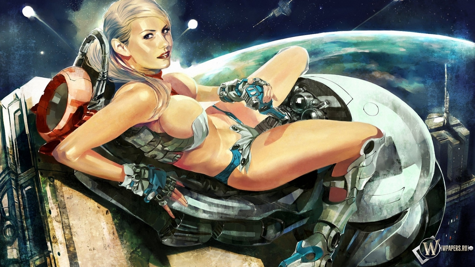 Космическая девушка 1600x900