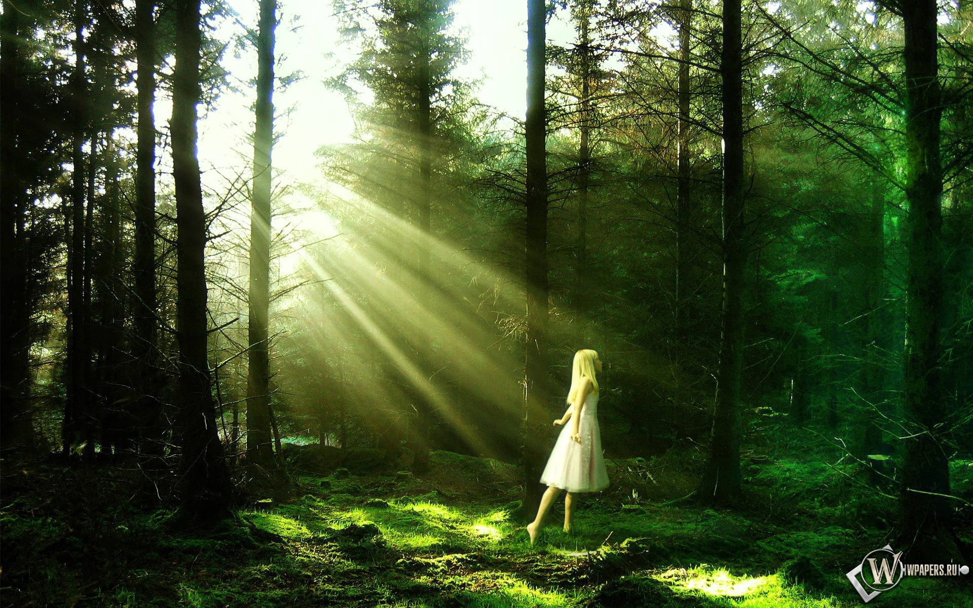 Девочка в лесу 1920x1200