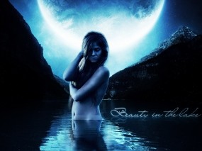 Обои Beauty in the lake: Girl, Blue, Water, Moon, Фэнтези - Девушки