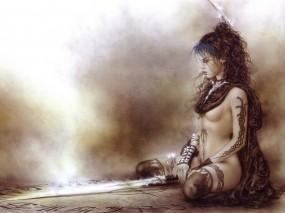 Обои Luis Royo: Меч, Пирсинг, Татуировки, Luis Royo, Фэнтези - Девушки