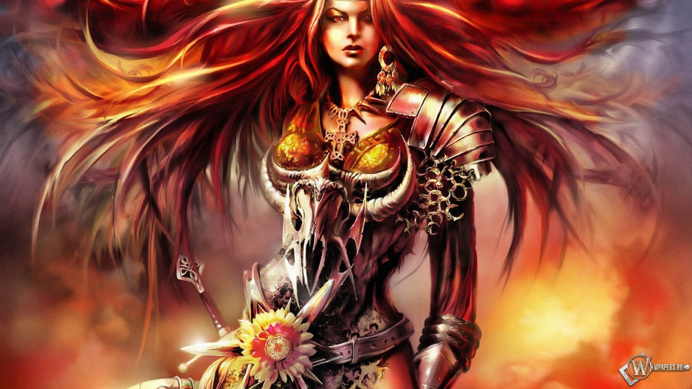 Рыжая девушка воин 1366x768