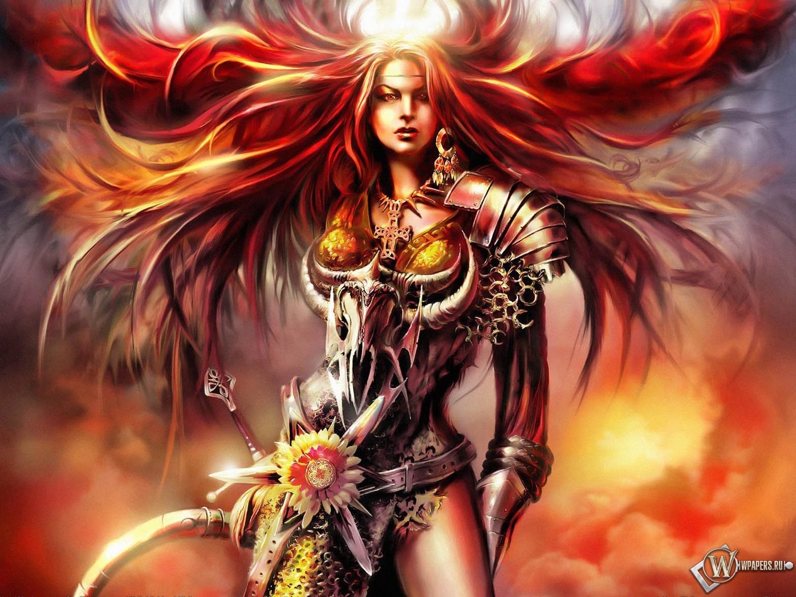 Рыжая девушка воин 1600x1200