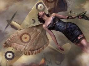 Обои Девушка-бабочка: Война, Девушка, Самолёт, Бабочка, Фэнтези - Девушки