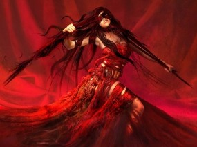 Обои Женщина в красном: Девушка, Рисунок, Красный, Фэнтези - Девушки