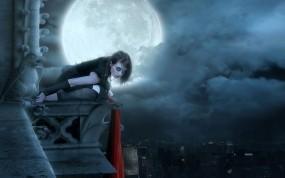 Обои мистическая девушка: Город, Девушка, Дождь, Луна, Мистика, Крыша, Фэнтези - Девушки