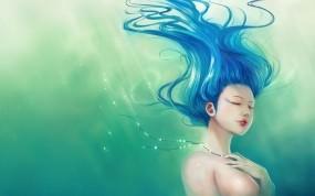 Обои Девушка из воды: Волосы, Синий, Зелёный, Фэнтези - Девушки