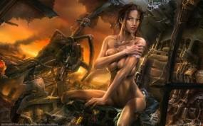 Обои Картина Павла Лагутина: Грудь, Девушка, Рисунок, Робот, Фэнтези - Девушки