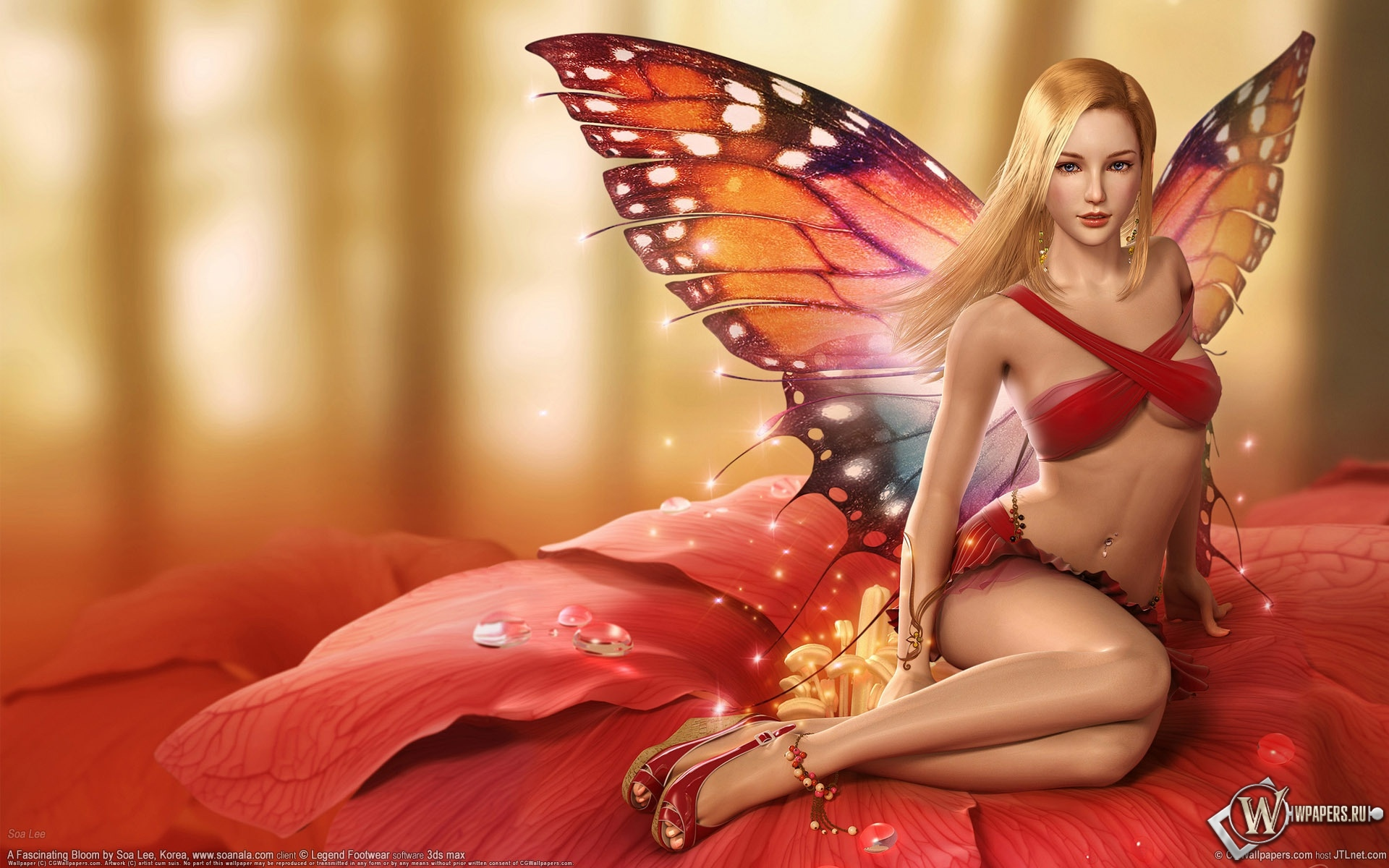 Девушка бабочка 1920x1200