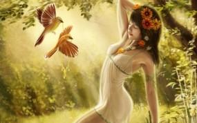 Обои Девушка в лесу: Лес, Девушка, Птицы, Фэнтези - Девушки