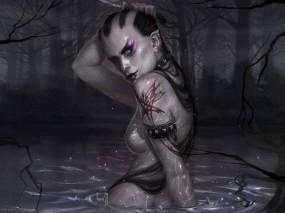 Обои Женщина-воин: Мрак, Болото, Нож, Водяная, Фэнтези - Девушки