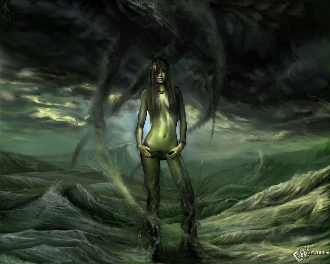 Зелёная девушка 1280x1024