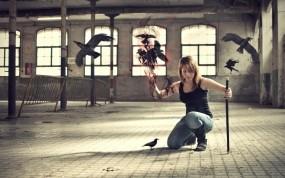 Обои Вороны: Девушка, Магия, Вороны, Фэнтези - Девушки