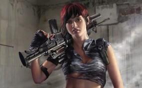 Обои Девушка с автоматом: Девушка, Оружие, Солдат, Фэнтези - Девушки