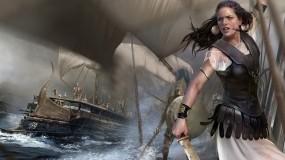Обои Воительница: Девушка, Фэнтези, Воин, Паруса, Корабли, Фэнтези - Девушки