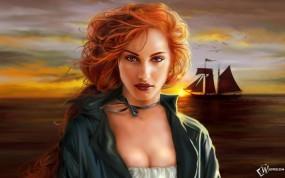 Обои Фэнтези девушка: Корабль, Фэнтези девушка, Фэнтези - Девушки