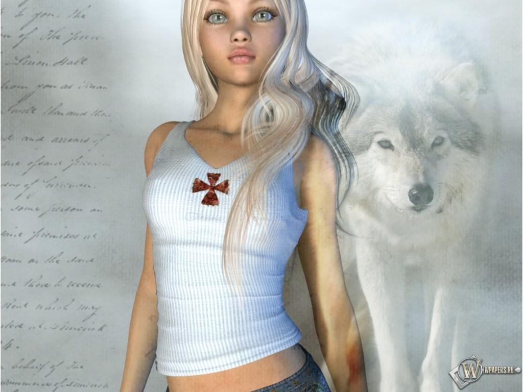 Девушка - волчица 1024x768