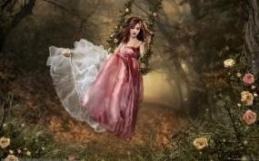 Обои В лесу на качелях: Платье, Лес, Девушка, Качели, Фэнтези - Девушки