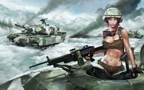 Обои Девушка в танке: Война, Девушка, Танк, Пулемет, Танки, Фэнтези - Девушки