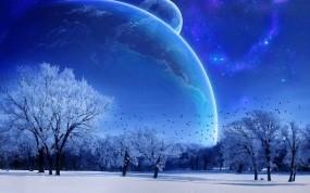 Обои Зимняя фантазия: Зима, Деревья, Космос, Планеты, Фэнтези - Природа