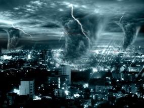 Обои Смерчи в городе: Город, Молния, Шторм, Катастрофа, Смерч, Стихия, Фэнтези - Природа