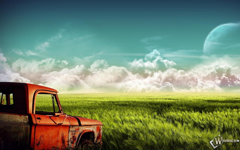 Пикап в поле 1440x900