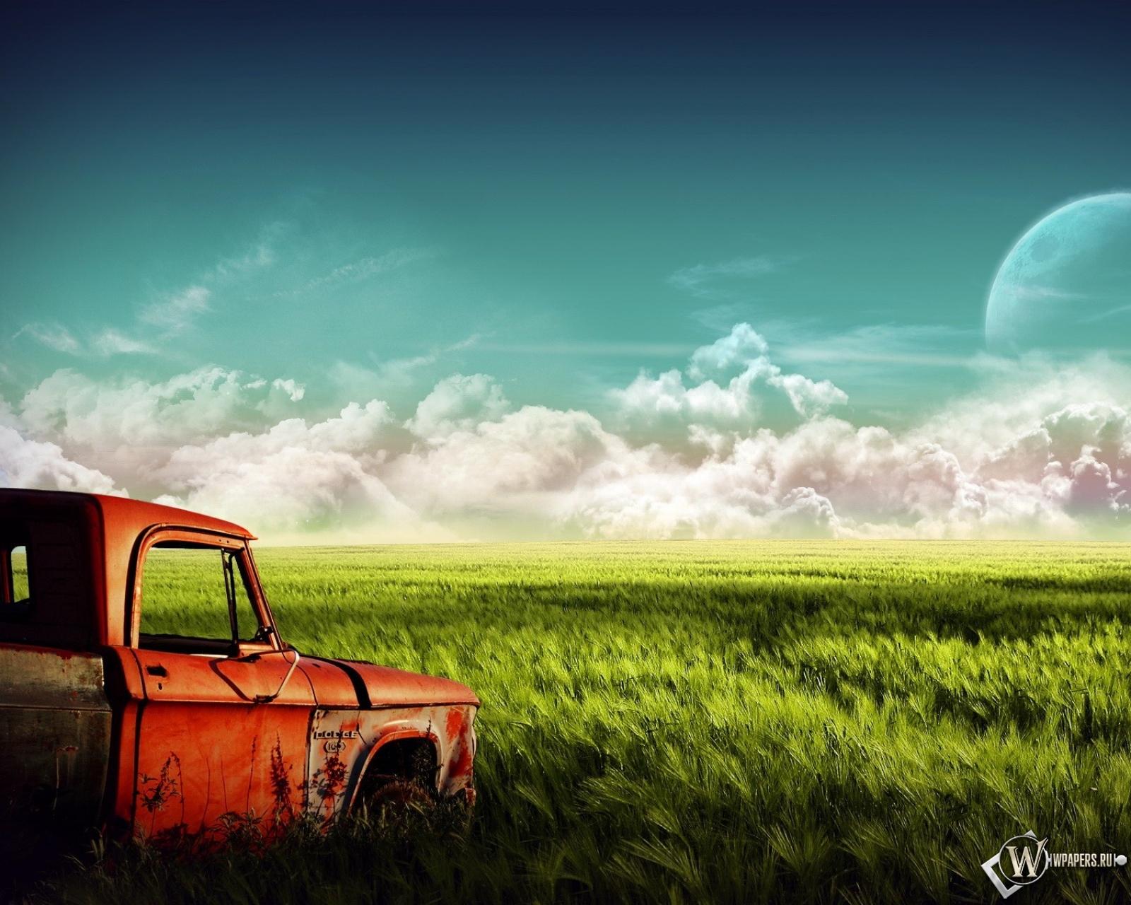 Пикап в поле 1600x1280