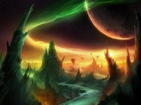 Обои World of warcraft outland: Горы, Планета, Фентези, WOW, Фэнтези - Природа