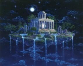Обои Эзотерическая фантазия: Ночь, Остров, Водопад, Звёзды, Небо, Фэнтези - Природа