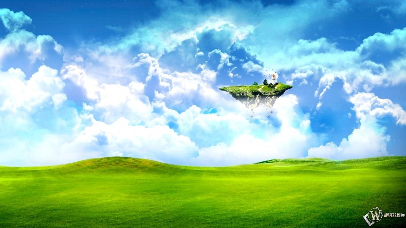 Летающий островок 1366x768