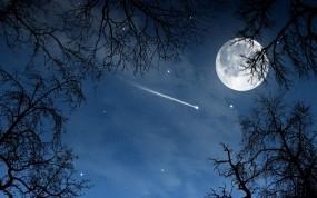 Обои Полнолуние: Ночь, Луна, Небо, Звезда, Фэнтези - Природа