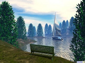 Обои 3D Скамейка в парке: , Фэнтези - Природа