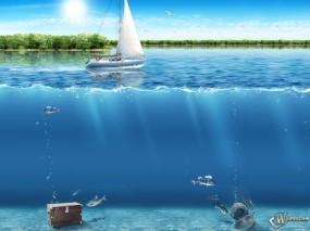 Обои Яхта: Парусник, Клад, Глубина, Рыбы, Фэнтези - Природа