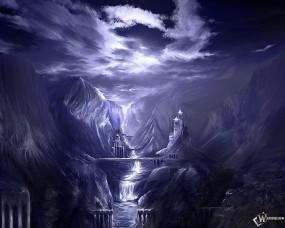 Обои Снежное королевство: Царство снега, Горный замок, Ледяной дворец, Фэнтези - Природа