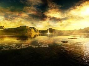 Обои Внутренний мир: Облака, Горы, Вода, Фэнтези - Природа