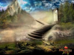 Обои Ступени в небо: Горы, Ступени, Фэнтези - Природа