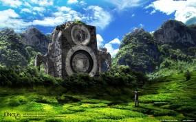 Обои Каменные динамики: Человек, Аудио, Динамики, Фэнтези - Природа
