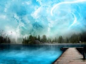 Обои Заколдованное озеро: Озеро, Картинка, Пристань, Фэнтези - Природа