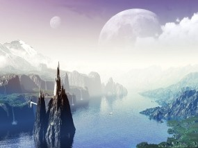 Обои Фантастический мир: Вода, Природа, Луна, Планета, Небо, Фэнтези - Природа