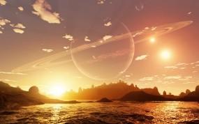 Обои на другой плананете: Вода, Закат, Планета, Фэнтези - Природа