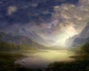 Обои Сказочный пруд: Пруд, Рисунок, Лебедь, Фэнтези - Природа