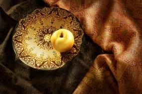 Обои Яблочко на тарелочке: Яблоко, чаша, желтое, Еда