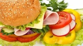 Обои Красочный гамбургер: Еда, Сыр, огурец, Ветчина, Еда