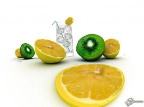 Обои Коктейль: Стакан, Вода, Коктейль, Еда, Киви, Лимон, Фрукты, Лёд, Еда