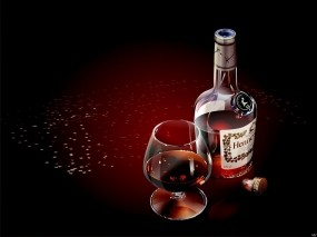 Обои Коньяк Hennessy Black: Бокал, Бутылка, Коньяк, Алкоголь