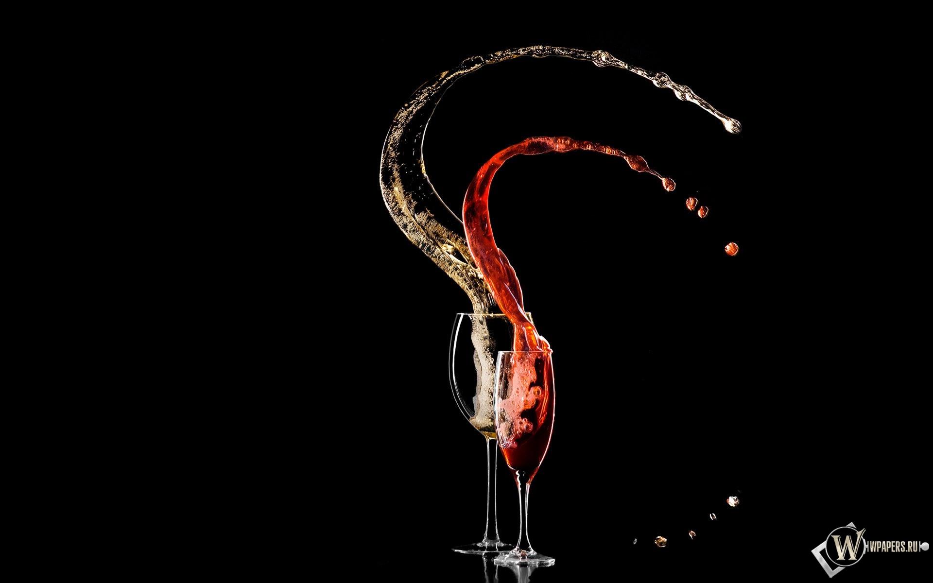 Вино в бокалах 1920x1200