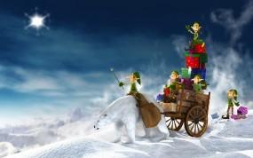 Обои Рождественские подарки: Подарки, Рождество, Праздник, Эльфы, Гномы, Праздники