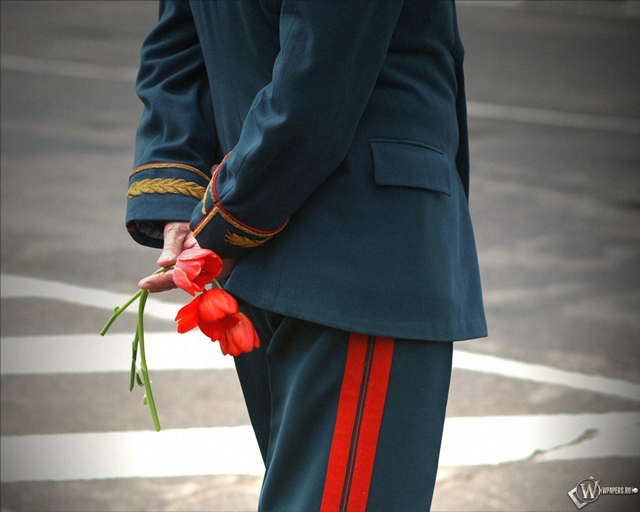 Цветы у ветерана 1280x1024